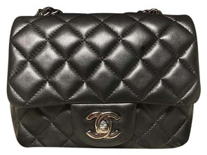Chanel Mini Square Quilted Patent Leather Cross Body Bag