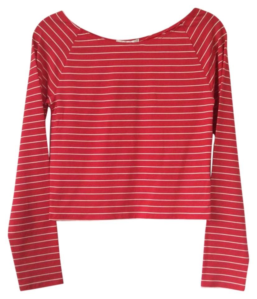 cb7ab891e31c5f Forever 21 Red with White Stripes Halter Top Size Petite 8 (M) - Tradesy