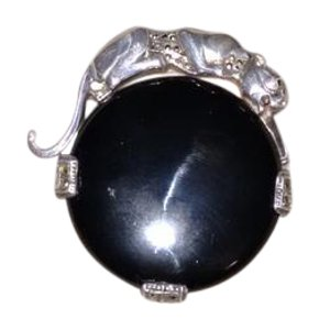ARI D NORMAN A12 Onyx Panther Brooch Sterling Silver Ari D Norman