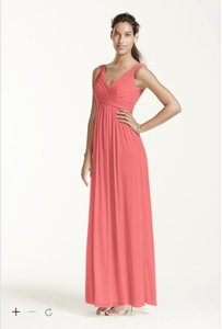 David's Bridal Coral Reef Long Mesh Dress With Cowl Back Detail - F15933 Dress