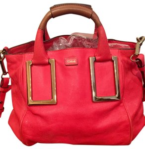 Chloé Ethel Medium Mulberry Leather Satchel in Lipstick