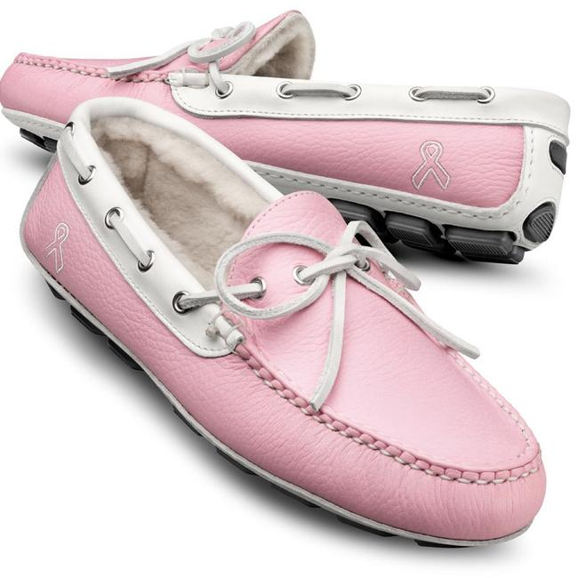 Item - Pink White Helena / Leather Breast Cancer Drivers / Loafers Flats Size US 9.5 Regular (M, B)