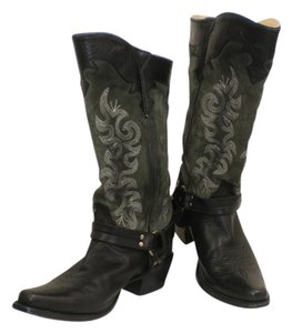 Frye Lily Harness Cowboy Leather Suede Black Boots