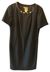 Tory Burch Faux Leather Gold Hardware Sheath Dress