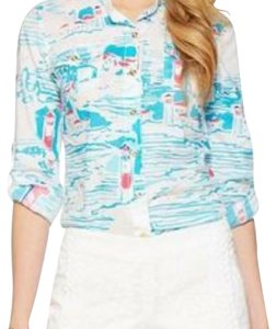 Lilly Pulitzer Button Down Shirt white blue pink