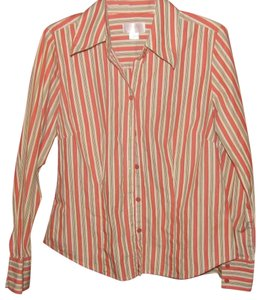 Ann Taylor LOFT Green Bone Button Down Shirt Coral Striped
