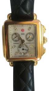 Michele MICHELE Deco Gold Diamond Dial Watch