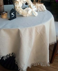 Natural Linen 4 1/2'x 4 1/2' Square Or Overlays Tablecloth