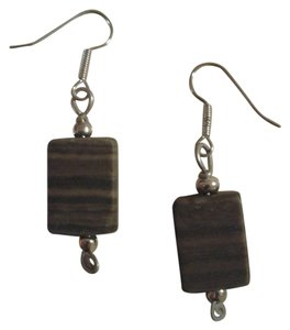 Other NEW Handmade Genuine WOOD AGATE Gemstone Rectangle Bead EARRINGS Buy3Get1FREE Sale!