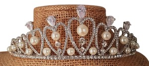 Silver Plated Faux Pearl Cubic Zirconia T-007-a Tiara