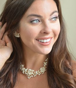 Elegance By Carbonneau Rose Gold Floral Pearl Wedding Jewelry Set