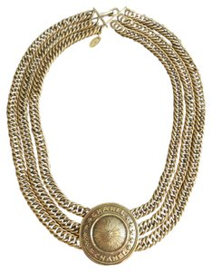 Chanel CHANEL MEDALLION GOLD TRIPLE CHAIN CHOKER NECKLACE