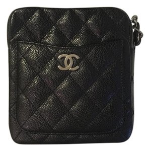 Chanel Classic Caviar Camera Chain Silver Hardware Cross Body Bag