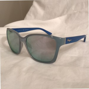 Salvatore Ferragamo NEW! AZURE/BLUE WOOD Wayfarer