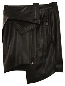 Haute & Rebellious Leather Mini Wrap Asymmetrical Sexy Mini Skirt Black