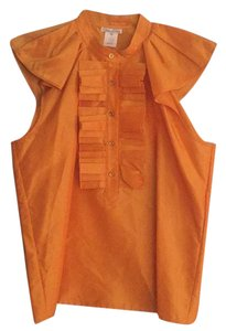 Oscar de la Renta Silk Sleeveless Ruffles Top orange