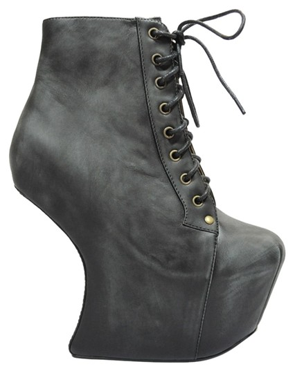 Jeffrey Campbell Distressed Lace Up Wedge black Boots