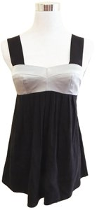 Amanda Uprichard Color-blocking Babydoll Silk Top Black/Silver
