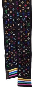 Louis Vuitton Louis Vuitton Black Monogram Multicolor Silk Bandeau Scarf