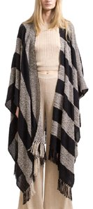 Ayni Cape Poncho Fringe Striped Sweater