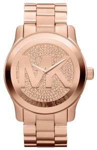 Michael Kors BRAND NEW Runway Rose Gold Stainless Pave Crystal Watch MK5661
