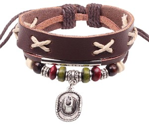 Other Brown Leather Western Cowboy Hat Bracelet Free Shipping