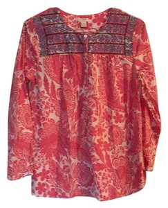 2bbc35803b941a J.Crew Top Coral and pink with blue pattern