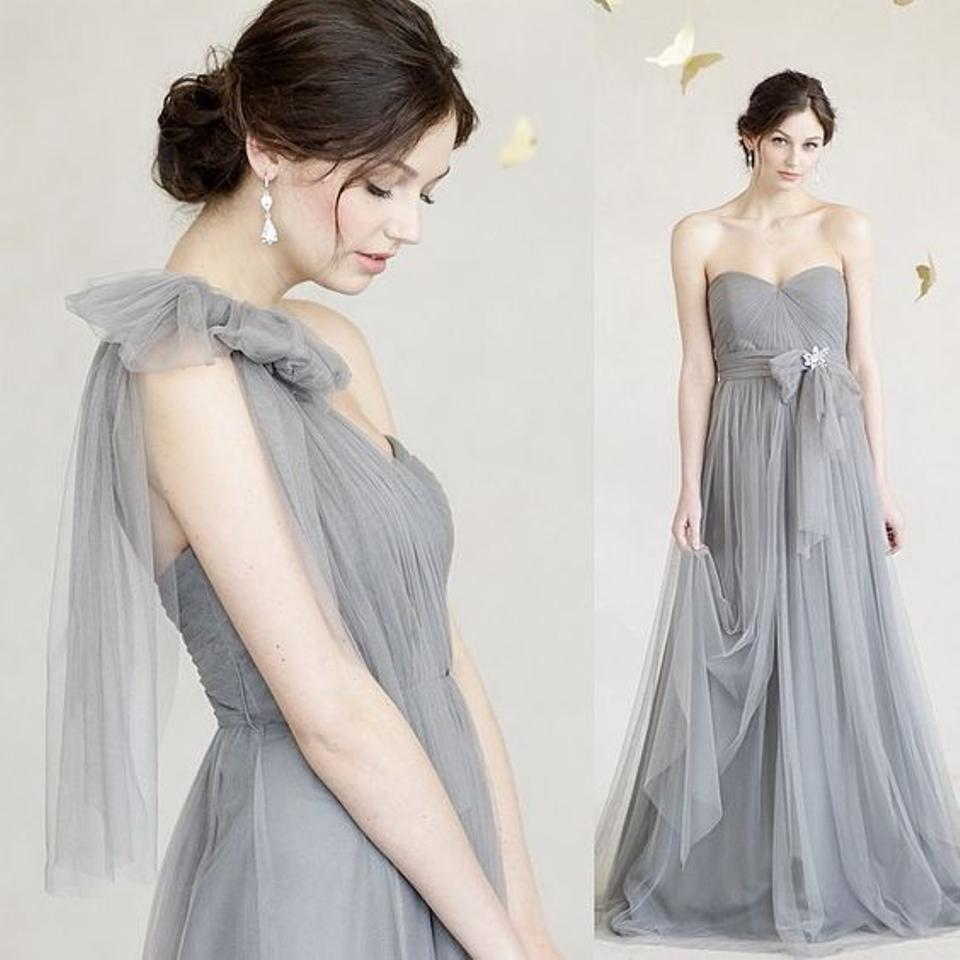 b805216a205 Jenny Yoo Sterling Grey Tulle Polyester Annabelle Convertible Column Formal  Bridesmaid Mob Dress