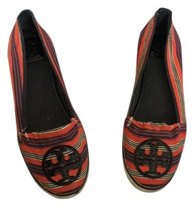 Tory Burch red, navy, crepe Flats
