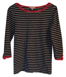 Banana Republic Top Navy and white stripes with orange accents