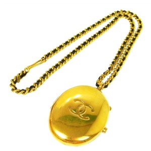 Chanel Rare Gold-Tone Locket Pendant Necklace