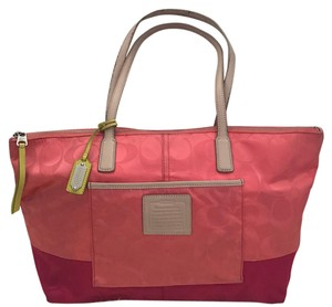 Coach Tote in peach, pink, yellow, beige
