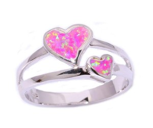 Ladies Pink Opal Heart Fashion Ring Free Shipping