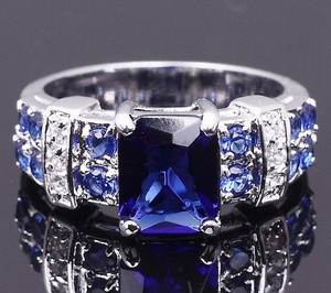 Reduced! Royal Sapphire Blue Zircon Fashion Ring Free Shipping