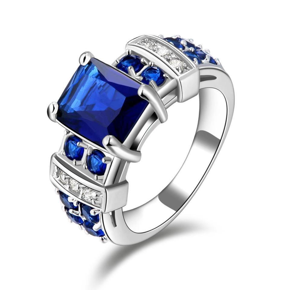 engagement jewelry middleton style sterling ring size cz color w diana sapphire blue silver kate cl bling royal