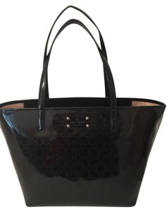 Kate Spade Patent Leather Heart Design Tote in Black