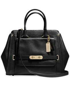 Coach Swagger Leather Gold Satchel in Black