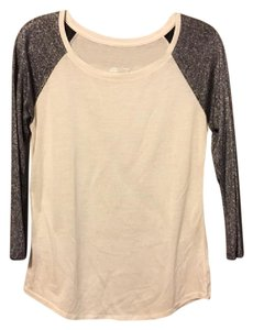 American Eagle Outfitters Baseball T Glitter 3/4 Sleeves T Shirt White & Black