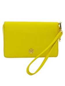 Tory Burch Leather Wristlet in Yellow