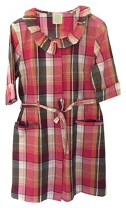 Anthropologie short dress Red Pink Plaid on Tradesy