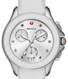 Michele Multicolor Topaz Stainless Steel & Silicone Strap Watch