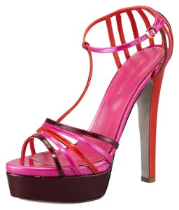 Sergio Rossi Color-blocking Pink Burgundy Tangerine Sandals
