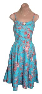 LuLu'S Cabi short dress AQUA BLUE AND RED Retro New Cotton Blend Super Cute To Sell on Tradesy