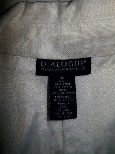 Dialogue Blazer Swirl Design Xs Ecru, Bone, White Jacket