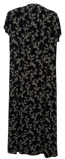 Black with white design and small blue flowers. Maxi Dress by J. Jill