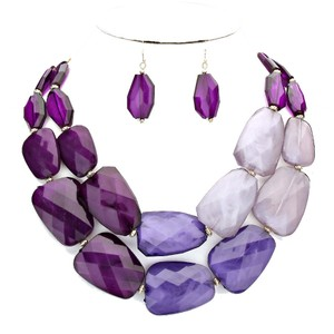 Other Fashion Purple Lavender Resin Double Strand Necklace Set