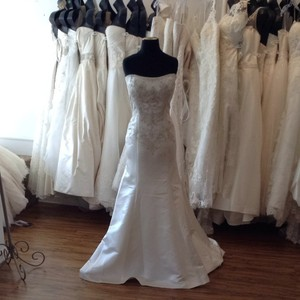 Casablanca White/Silver Satin Wedding Dress Size 14 (L)