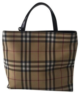 Burberry Tote in Black, Tan, Multi