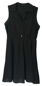 BCBGMAXAZRIA Button Button Down Pocket Elastic Collar Dress