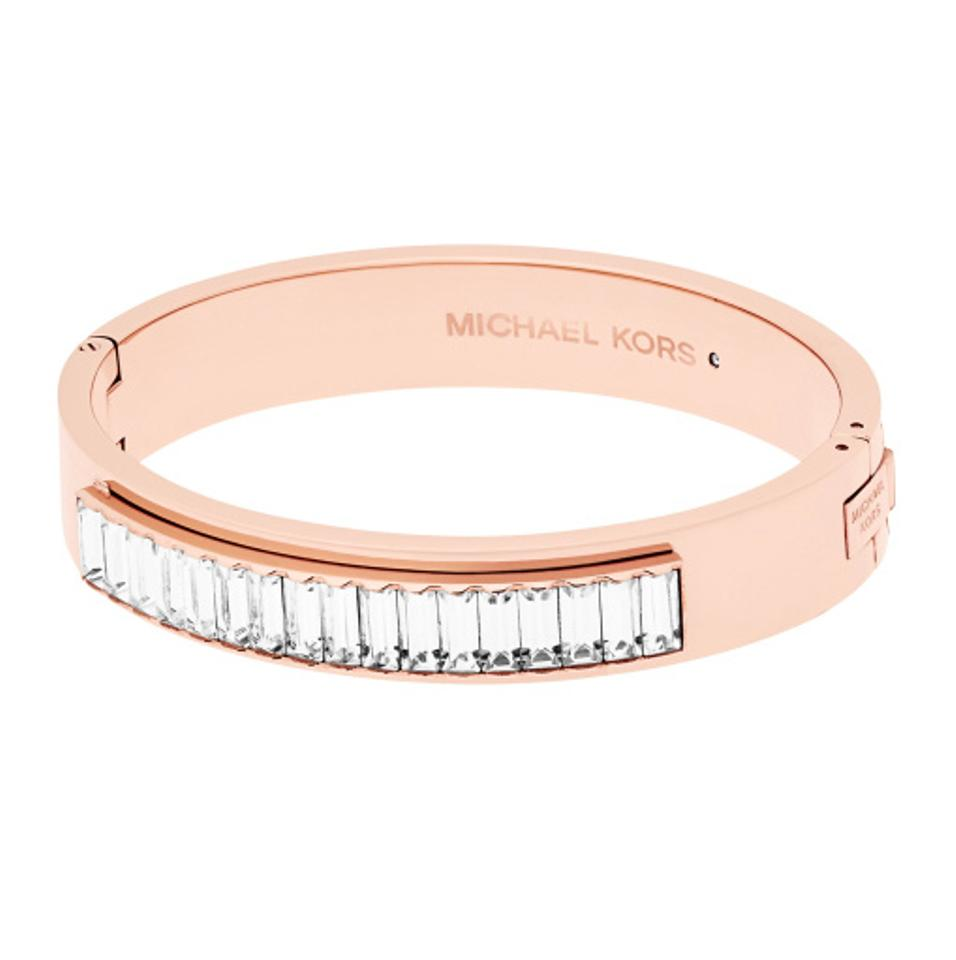 Michael Kors Rose Gold Mkj6232791 Baguette Crystals Bangle Bracelet Tradesy